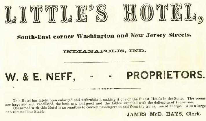 Littles Hotel, 1865