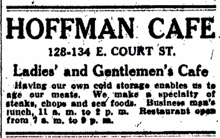 Hoffman Cafe advertisement, 1913