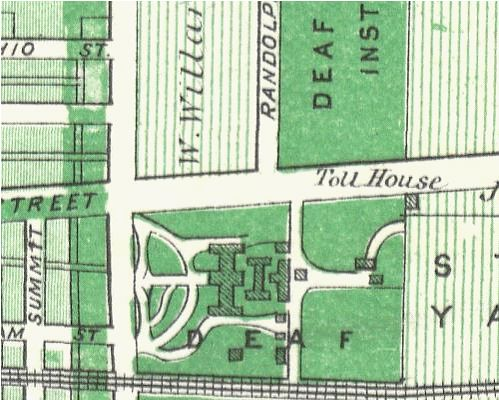 1876 map of the Deaf School, close-up