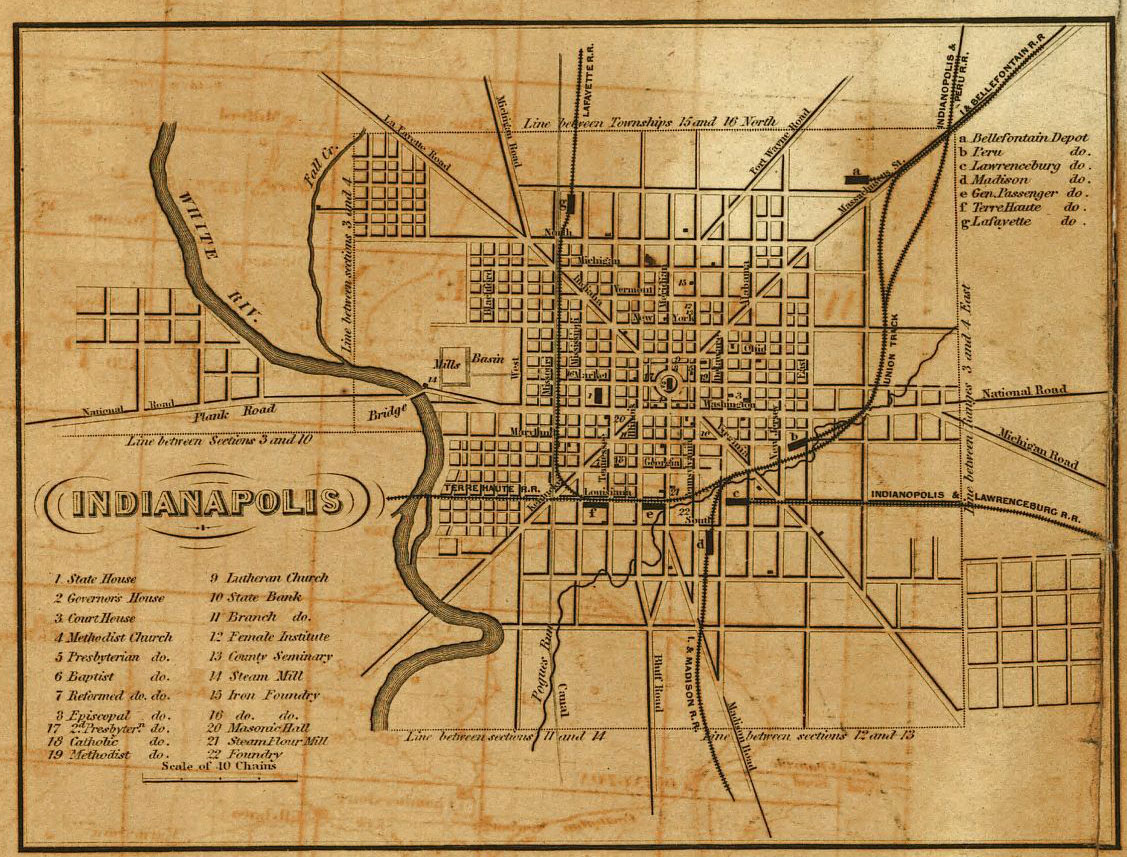 Indianapolis inset from 1852 railroad map of Indiana